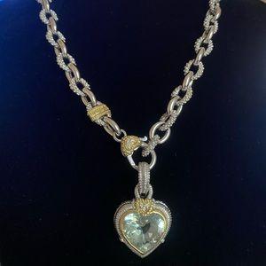 "Judith Ripka 16"" Necklace & Mint Green Heart Charm"